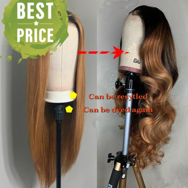 Ombre Honey Blonde Straight Deep Parted Lace Front Wigs 13*6 Colored 1b/27 Brazilian Remy Lace Front Human Hair Wigs Pre Plucked