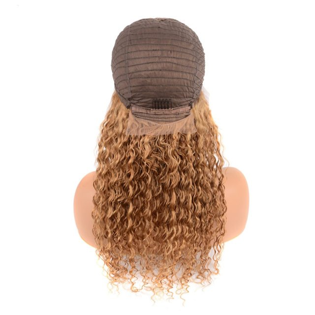 Honey Blonde Lace Front Human Hair Wig Pre Plucked Color 27 Deep Wave Lace Frontal Wig Remy Peruvian Bob Wig For Black Women