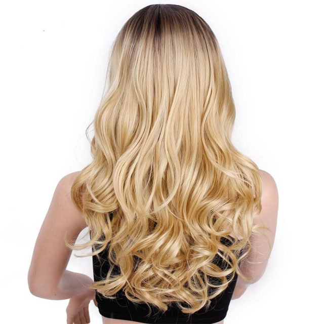 Ombre Long Wavy Blonde Wig Synthetic Wigs For Women Gray White Black Red Brown Blond Wig Glueless Hair Cosplay AISI BEAUTY