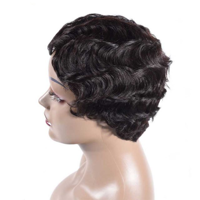 HAIR MASTER Short Finger Wave Wigs Brazilian Remy Human Hair Short Bob Wigs For Woman Machine  Glueless Wig Color 1B 4 27 30 99J